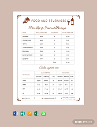 Microsoft Word Price List Free Food Beverage Price List In Microsoft Word Excel Publisher