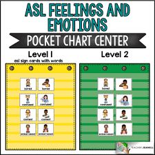 Sign Language Chart Asl American Sign Language Feelings And Emotions Pocket Chart Center