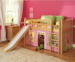 wooden bunk bed white slide for girl pink wall playing kids pink tent white  curtain wooden