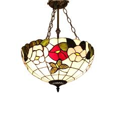 16inch european past retro style chandeliers multicolor flower pattern glass shade bedroom living room dining room kitchen lights