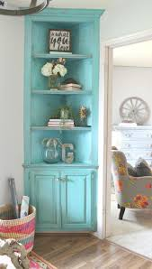 turquoise painted corner built in it s she den makeover reveal day refunk my junk