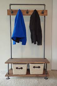Built In Coat Rack Industrial Pipe Entry Bench with BuiltIn Coat Rack 31