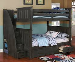 full bunk beds with stairs.  Full Full Bunk Bed With Stairs Weathered Dark Gray Image 1 And Beds With T