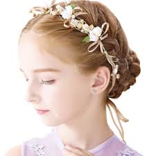 Eones髪飾り 子供 ヘアアクセサリー ヘッドドレス 花冠 ビジュー パール リボン パーティー 誕生日 発表会 衣装