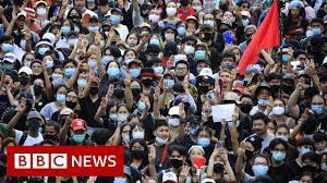 Thai protesters confront royals in Bangkok visit - BBC News - YouTube