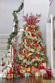 christmas trees decorated in red and silver. Perfect Silver Red Silver Green Holiday Palette In Christmas Trees Decorated And