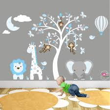 jungle wall decals with moon and hot air balloon