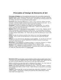 Principles Of Design Handout Principles Of Design And Elements Of Art Handout