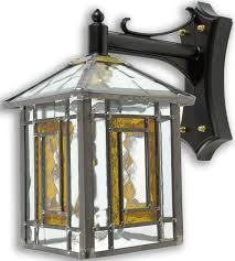 poole amber leaded glass outdoor wall lantern 69dc a jpg
