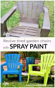yes you can spray paint plastic outdoor chairs to give them new life and add color