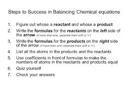 steps to success in balancing chemical equations