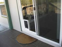 image of exterior door with dog door picture