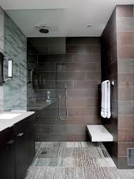 contemporary bathrooms ideas for small bathrooms with strip pattern floor tiles and brick pattern wall