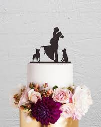 Wedding Cake Topper Bride And Groom Cake Topper With Dog Couple