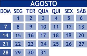 Resultado de imagem para calendario agosto 2016