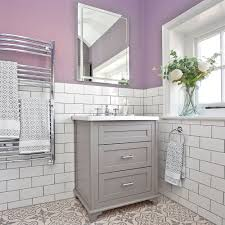 White bathroom tiles Herringbone Lilacandwhitebathroomwithmetrotiles2 Ideal Home Lilac And White Bathroom Makeover With Metro Tiles And Shower