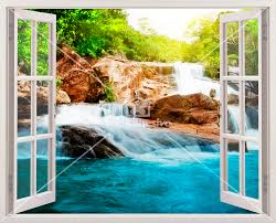 Kunststoff 3d Fenster Frühling Und Wasserfall Webwandtattoocom