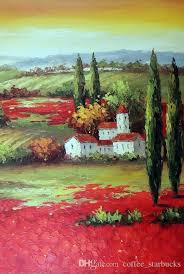 2018 framed tuscany sunset italian farm homes red poppy field pure hand painted art oil painting canvas multi sizes available j005 from coffee starbucks