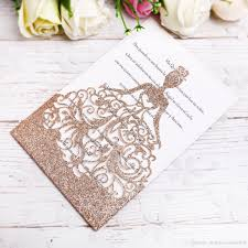 Princess Invite 2018 New Gold Glitter Laser Cut Crown Princess Invitations Cards For