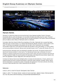premiumessays net english essay summary on olympic games