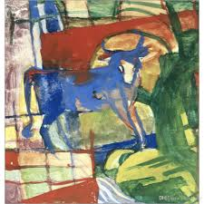 abstract horse paintings franz marc blue cow hand painted canvas art high quality oil painting handmade living room decor with 200 0 piece on