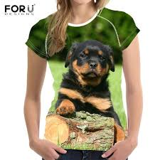 <b>FORUDESIGNS</b> Funny Puppy Rottweiler Printed <b>Woman's T Shirts</b> ...