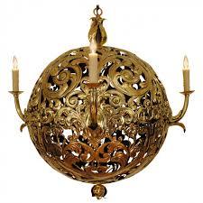 brass orb 3 light chandelier