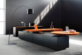 furniture design office. Office Black. Contemporary Black And Orange Two Tones Desk With Arch Lamp Full Furniture Design