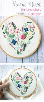 Hand Embroidery Patterns Custom Floral Heart Hand Embroidery Pattern The Polka Dot Chair