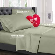 nestl bedding premium 1800 deep pocket 4 piece bed sheet set hotel luxury double brushed microfiber sheets wrinkle fade stain resistant