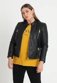 carmette biker jacket faux leather jacket colour black