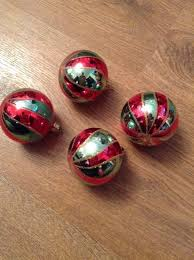 vine mercury gl christmas tree decorations baubles striped red green 1 of 4 see more