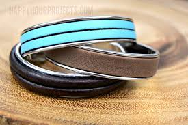 3 minute diy leather bracelet cuff at happyhourprojects com
