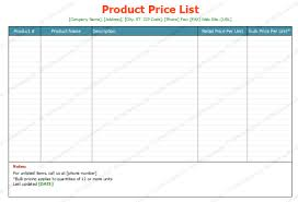 List Template Free Free Printable Price List Template Soft Templates