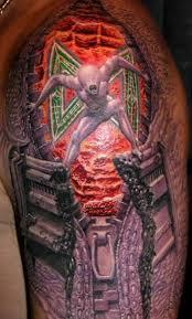 3d Awesome Angry Alien Open Biomechanical Zipper Tattoo Design