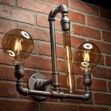 industrial lighting bathroom. Pipe Light - Lighting Sconce Steampunk Bathroom Industrial Wall FREE SHIPPING