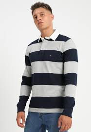 iconic block stripe rugby polo shirt colour blue