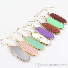 2018 natural gem stone long earrings drop 18k gold plated earring charms geometric earrings fashion jewelry for women from musilingjewelry 3 02 dhgate