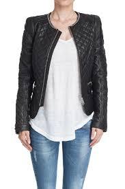 quilted leather jacket quilted leather jacket in black with chain detail full zip closure