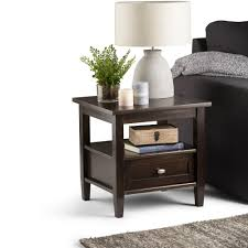 simpli home warm shaker brown storage end table