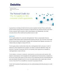 Credit Agreements The National Credit Act The Act applies to ALL consumer 1