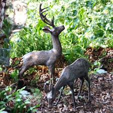 bronze garden statues. pair of aged bronze finish deer garden ornaments - large statues