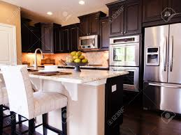 Dark hardwood floor Grey Modern Kitchen With Dark Wood Cabinets And Hardwood Floors Stock Photo 15079365 The Magic Brush Inc Modern Kitchen With Dark Wood Cabinets And Hardwood Floors Stock