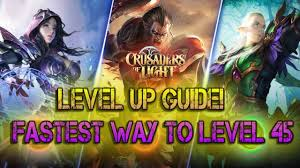 crusaders of light level up guide best way to level 45