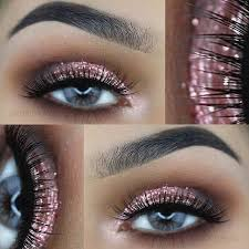 rose gold glitter eye makeup look