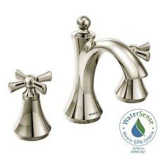 widespread 2 handle high arc bathroom faucet in polished nickel