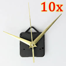 set of 10 diy wall quartz clock gold spindle hand mechanism movement repair kit