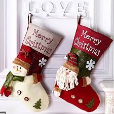 christmas stocking set. Interesting Christmas Lovely Christmas Stockings Set2 Pack Santa Claus Xmas 3D Plush Linen  Hanging Tag Knit In Stocking Set O