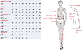 Womens Chest Size Chart Cm Size Chart For Women Uniforms By Olino