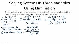 solving systems in three variables using elimination overview